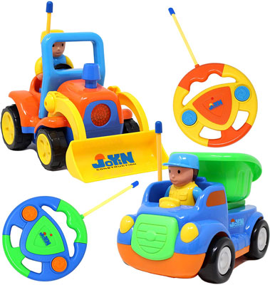7. JOYIN Store 2 Cartoon RC Dump and Bulldozer Trucks