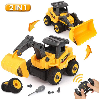 9. BeebeeRun Take Apart Construction Truck Toys