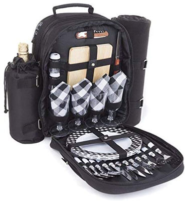 7. Plush Picnic – Picnic Backpacks (Four Person Black)